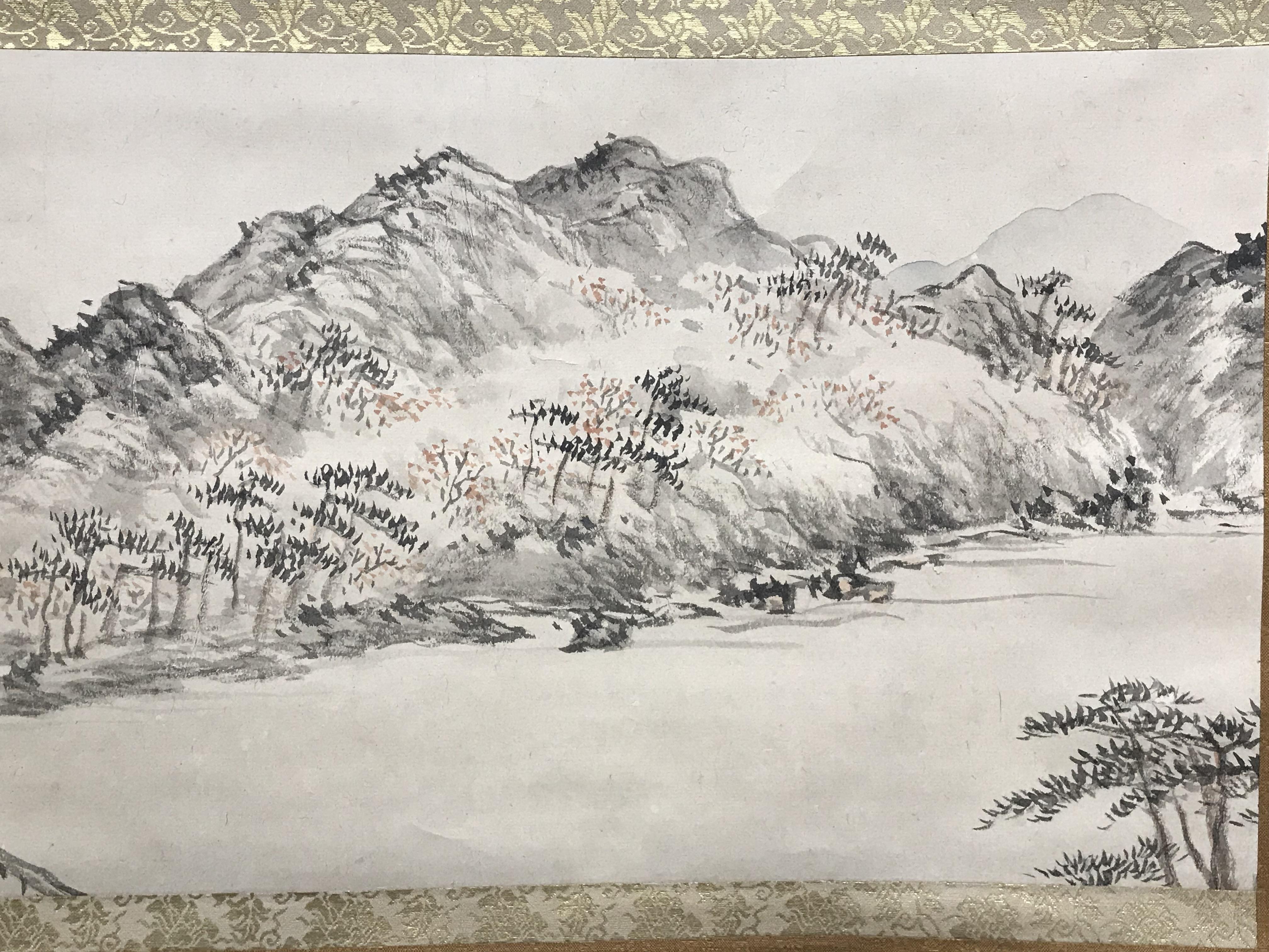 日根対山筆 春景嵐山図 掛軸