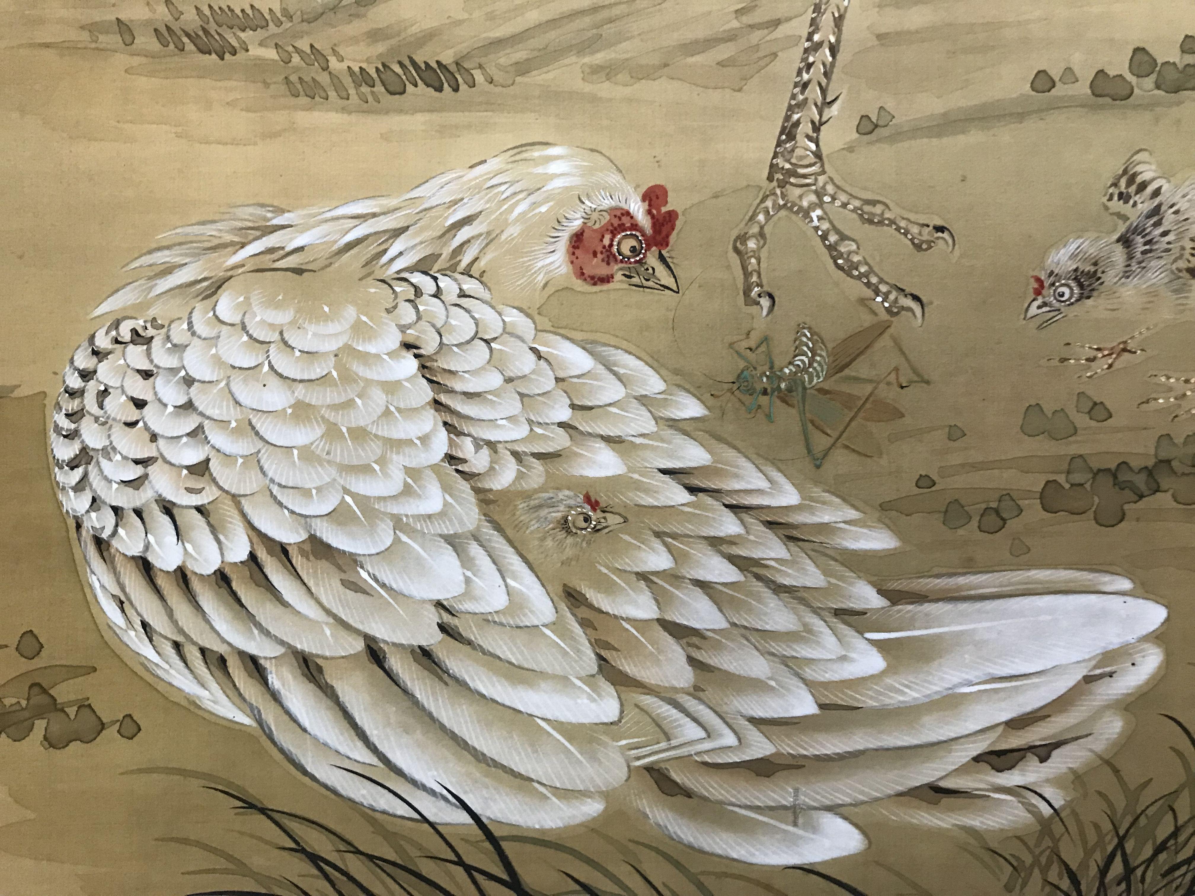椿二山 筆 松下遊鶏図 の掛軸