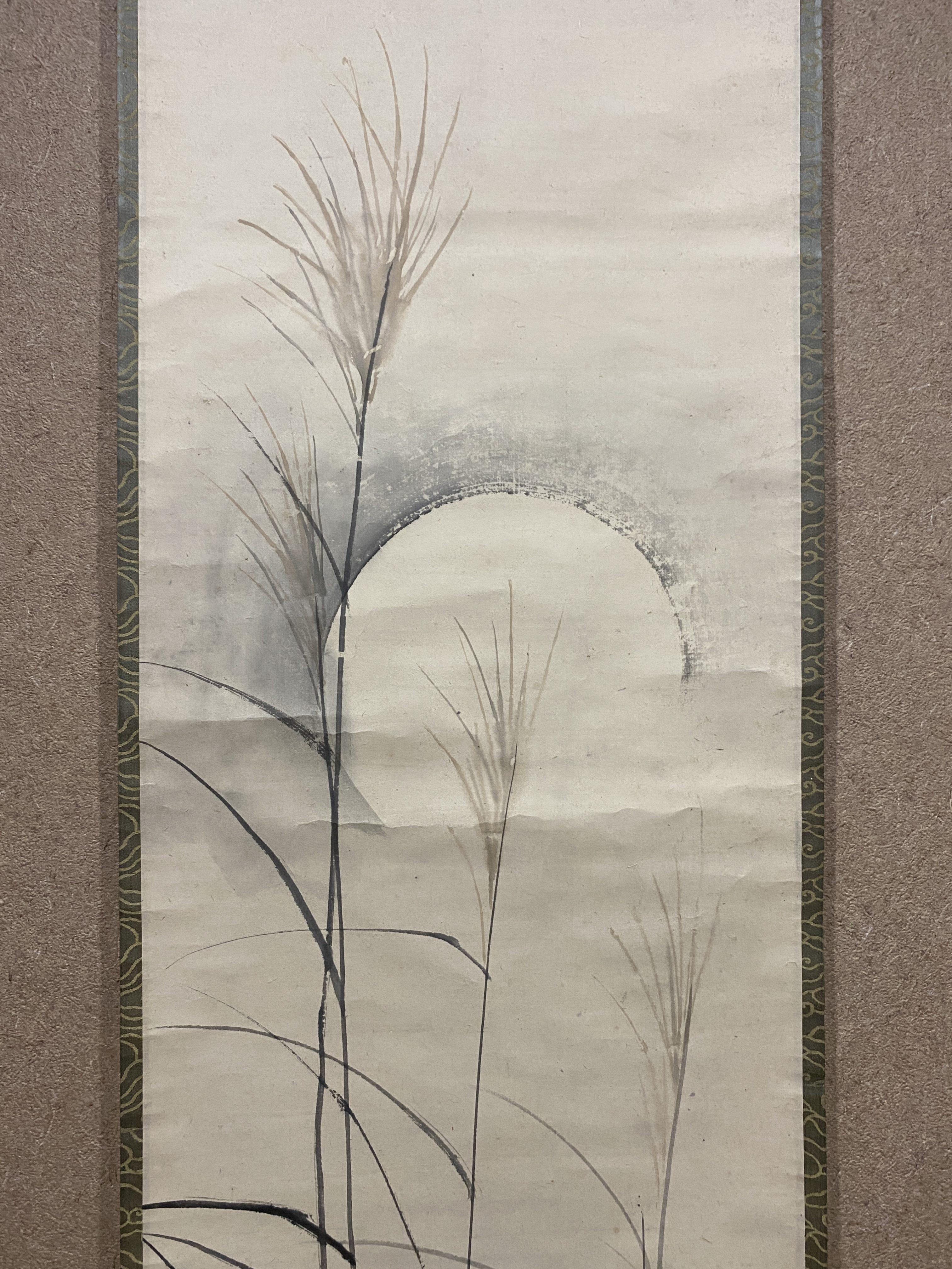 鈴木松年 秋草に月図