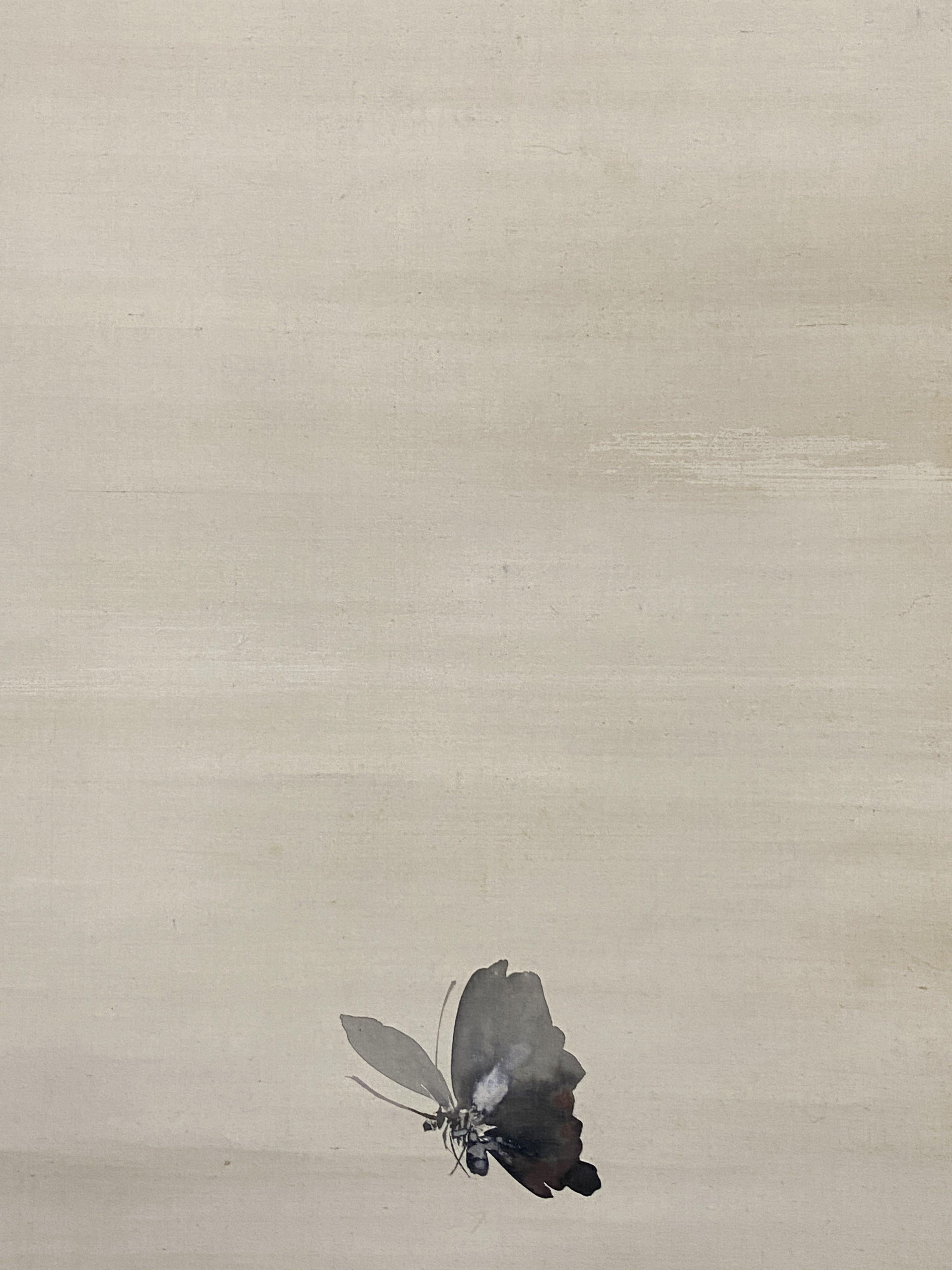 森本東閣 流霞双蝶図